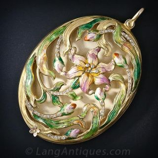 Large Art Nouveau Enamel and Diamond Pendant Locket - 1