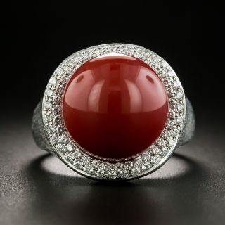 Large Coral Bead and Diamond Ring - 1