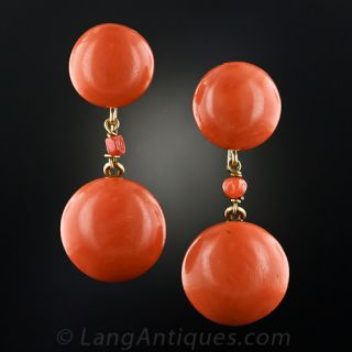 Large Coral Button Earrings - 1