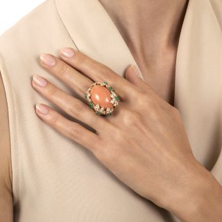 Large David Webb Coral, Emerald, and Diamond Ring