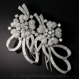 Large Diamond Floral Brooch and Dress Clips - 1