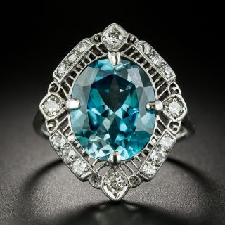 Large Edwardian 9.85 Carat Blue Zircon and Diamond Ring - 3