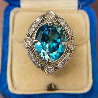 Large Edwardian 9.85 Carat Blue Zircon and Diamond Ring