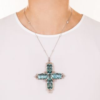Large Edwardian Aquamarine and Diamond Cross Pendant / Brooch