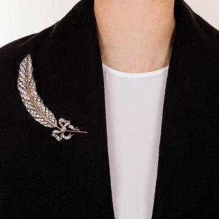Large Edwardian Diamond Feather Brooch