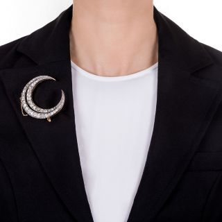 Large French Antique Diamond Crescent Brooch - 10 Carats