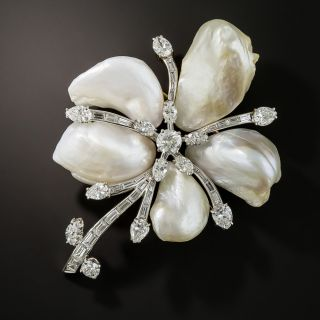 Large Freshwater Pearl and Diamond Flower Brooch - 1