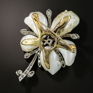 Large Freshwater Pearl and Diamond Flower Brooch