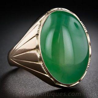 Large Gent's Vintage Jade Ring