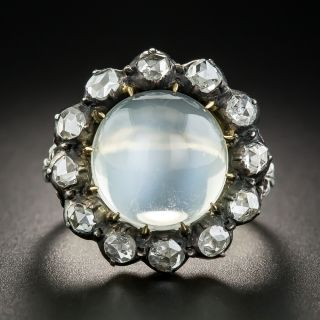 Large Georgian Style Cats-Eye Moonstone Diamond Ring - 1