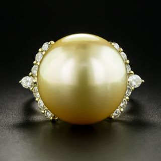 Large Golden South Sea Pearl and Diamond Ring - 1