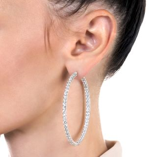 Large Inside Outside Diamond Hoop Earrings