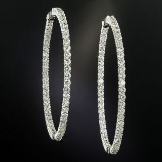 Large Inside Outside Diamond Hoop Earrings - 3