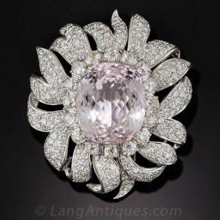 Large Kunzite and Diamond Clip Brooch