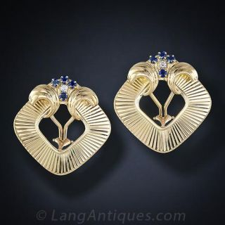 Large Mid-Century Ear Clips