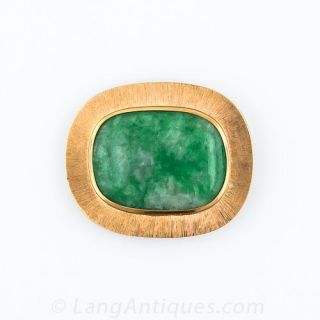 Large Mid-Century Natural Burmese Jade Brooch - 1