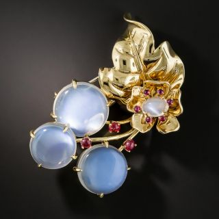 Large Moonstone Cherry Blossom Brooch - 2