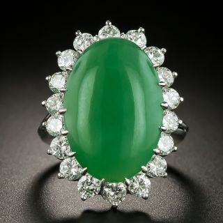 Large Natural Burmese Jade and Diamond Ring - 3