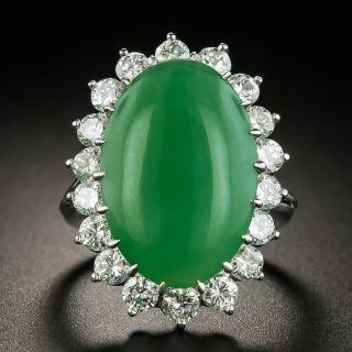 Large Natural Burmese Jade and Diamond Ring - 3