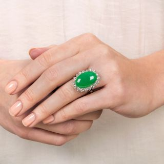Large Natural Burmese Jade and Diamond Ring