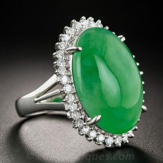 Large Natural Burmese Jadeite Platinum Diamond Ring