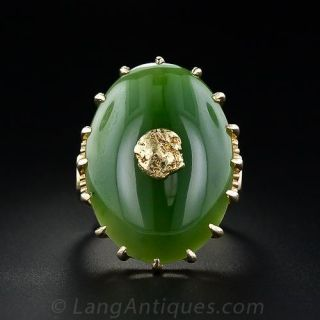 Large Nephrite and Gold Nugget Ring