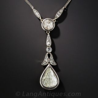Large Pear Shape Rose-Cut Diamond Drop - 1