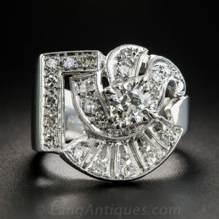 Large Platinum Diamond Retro Ring