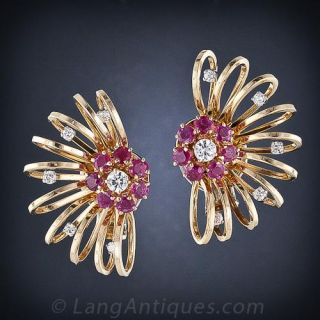 Large Retro Diamond and Ruby Earrings - 1