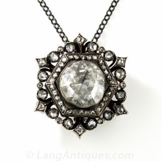 Large Rose-Cut Diamond Brooch/Pendant - 1