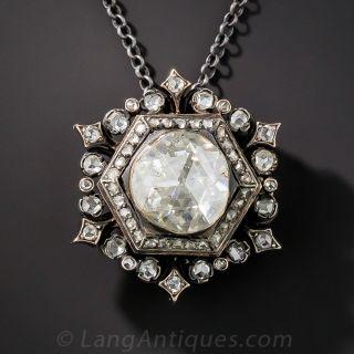 Large Rose-Cut Diamond Brooch/Pendant