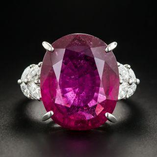 Large Rubelite Platinum Diamond Ring - 1