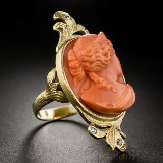 Large Scale Art Nouveau Coral Cameo Ring