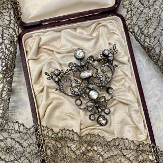 Large Scale Rose-Cut Diamond Brooch - French Import