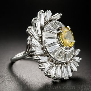 Large Scale Yellow Sapphire and Diamond Cocktail Ring