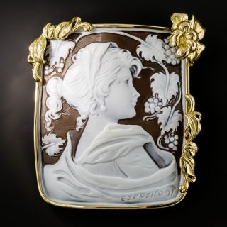 Large Shell Cameo Brooch - 1