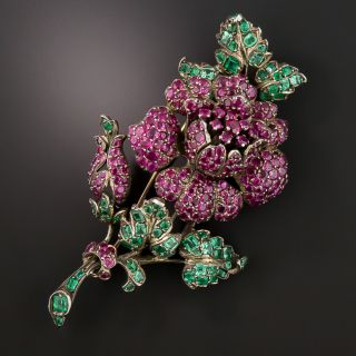 Large Victorian Austro-Hungarian Ruby and Emerald Rose Brooch - 2