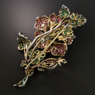 Large Victorian Austro-Hungarian Ruby and Emerald Rose Brooch