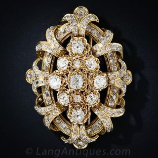 Large Victorian Diamond Brooch - 1