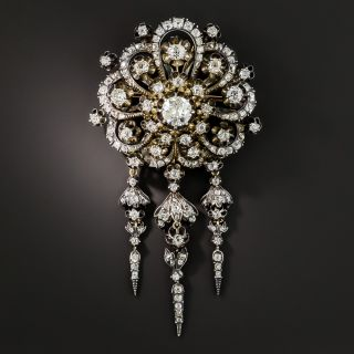 Large Victorian Diamond Tassel Brooch - 2
