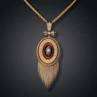 Large Victorian Garnet and Diamond Tassel Locket Pendant - 2