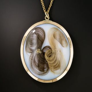 Giant Victorian Guilloche Enamel and Hair Locket - 2