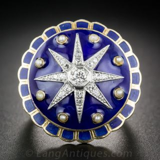 Large Victorian Revival Diamond and Enamel Cocktail Ring