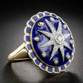 Large Victorian Revival Diamond and Enamel Cocktail Ring - 1