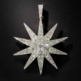 Large Victorian Star Brooch Pendant with 2.13 Carat Cushion-Cut Diamond Center - 1