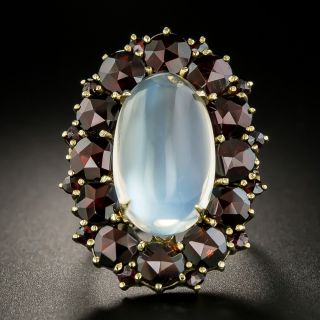 Large Vintage Moonstone and Garnet Ring - 2