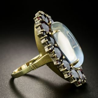 Mid-20th Century Moonstone and Garnet Ring