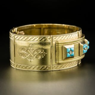 Late 19th Century French Turquoise Articulated Bangle  Bracelet