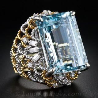 Late-20th Century Aquamarine and Diamond Ring - 1