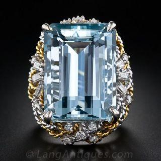 Late-20th Century Aquamarine and Diamond Ring